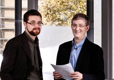 CITP associate director Stephen Schultze, left, and director Ed Felten in Sherrerd Hall, the center's home.