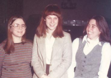 Arlene Pedovitch '80, right, with classmates Wendy Sheehan, left, and Christine Rose Parham, in 1979.