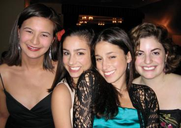 From left, Tarryn Chun '06; Molly Ephraim '08, Catherine Rampell '07, and  Eve Glazer '06 at Tower Club, December 2005.
