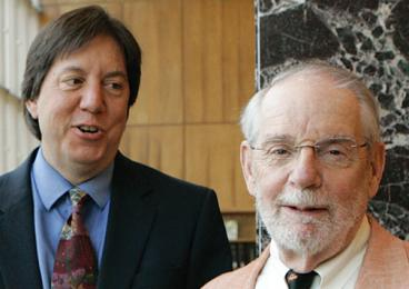 Joel Achenbach, left, with John McPhee at Reunions in 2013.