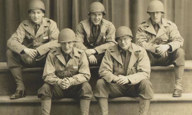 Members of the Princeton ROTC program in 1944. Front row, left to right, are Gelly Hinds '44 and Hamilton Caruthers '44. In the back row, from left, are an unidentified student, Karl Harr '44, and Rock Semmes '44.