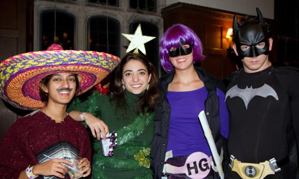 From left, graduate students Sonika Johri, Dena Feldman, Meghan Krupka, and Serguei Bagrianski dressed up for the Oct. 22 Halloween Ball at Procter Hall in the Graduate College. (Photos by John O'Neill '13)