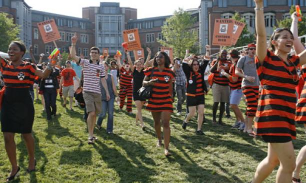 "The ""Wanted"" Class of 2004 arrives on Poe-Pardee Field at the end of the P-rade route."
