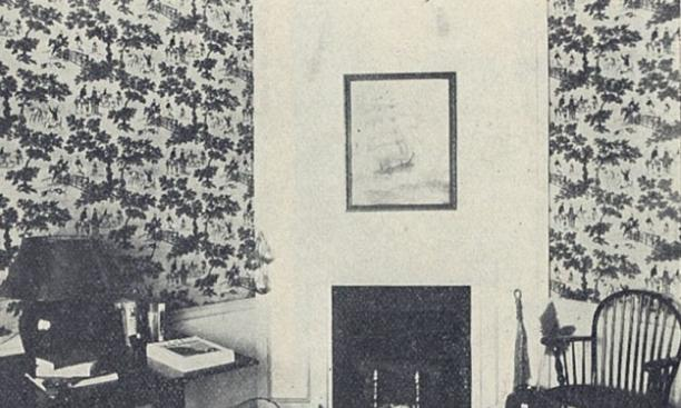 "Pleasants described this view as ""a corner in a modern Patton Hall suite, done over in the Colonial manner."" (PAW Archives)"