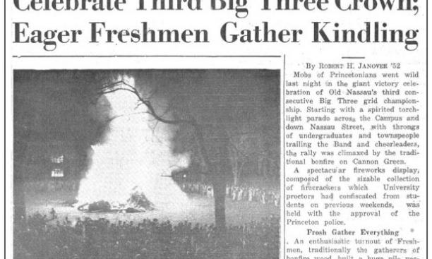 Front-page coverage of the Big Three bonfire in The Daily Princetonian Nov. 15, 1949