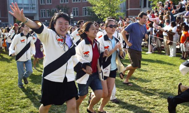 The Class of 2009 sprints to the finish of the P-rade.