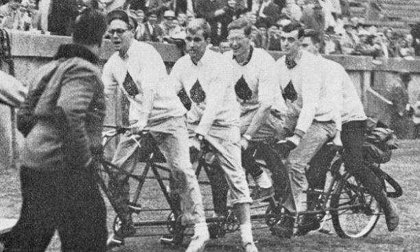 The Ivy five failed in their attempt to cycle to the Yale game, but that didn't stop them from taking a victory lap. (PAW Archives)