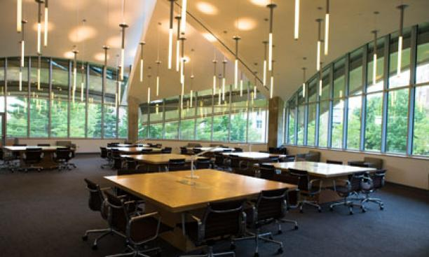 "The ""Treehouse,"" a spacious reading room on the 200 level."