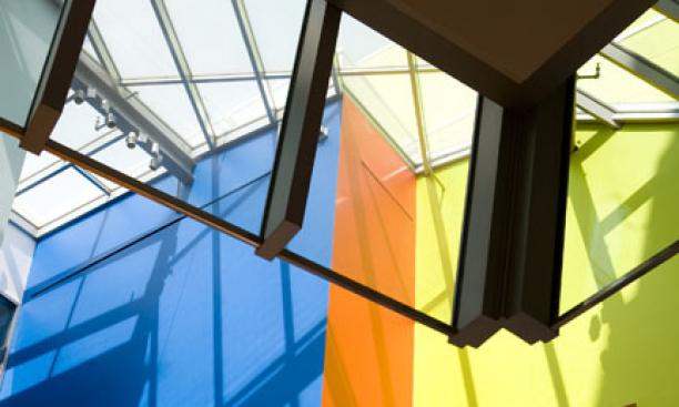 The walls of the library's public spaces are marked by a profusion of bright colors.
