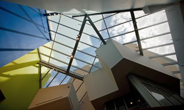 Skylights illuminate the central atrium and passageway.