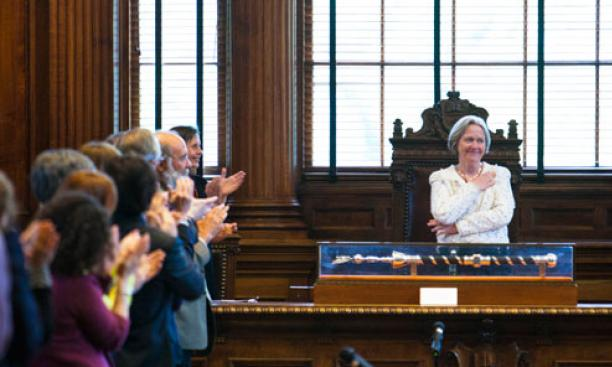 President Tilghman receives a final an ovation from the faculty April 29.