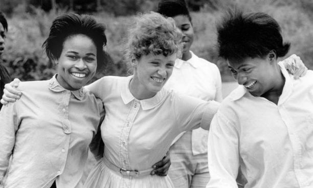 Freedom School, Mileston. Mississippi Summer Project, 1964:  Edie Black, volunteer from Smith College, with students she teaches in a freedom school at Mileston, a community of independent black farmers in the Mississippi Delta near Lexington.