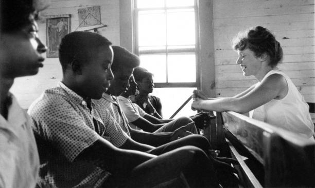 Freedom School, Mileston. Mississippi Summer Project, 1964:  Edie Black, volunteer from Smith College, teaches freedom school at Mileston, a community of independent black farmers in the Mississippi Delta near Lexington.