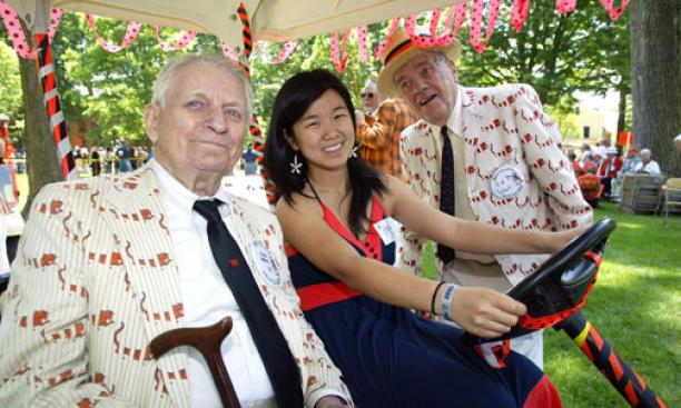 Hank Weeks '39, Angela Wu '10, and Ed Schall '39.
