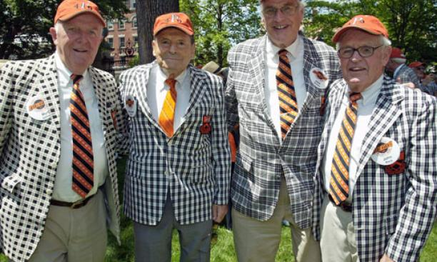 Celebrating their 60th reunion are, from left, Myrton Gaines, Jacques Istel, Jack Smiley, and John Rock, all Class of '49.