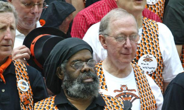 "Wade Epps '69 (foreground) and classmates celebrated a ""Magical Mystery Tour"" 40th reunion."