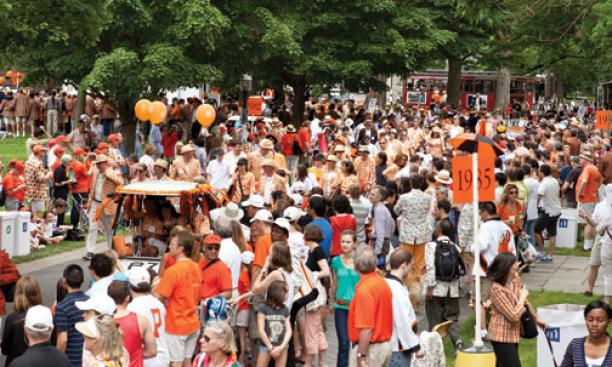 Following custom, the 25th-year class leads the P-rade.