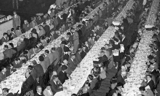 Princetonians have been gathering for Alumni Day since 1915. This photo from Feb. 22, 1947, shows lunch at Baker Rink.