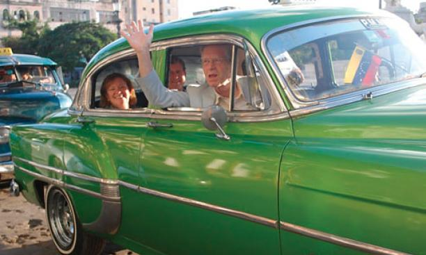 Frederick Hilles '60, in the front seat, and in the back his wife, Jane Osgood, and Lee Fuller '60 in Cuba last October.