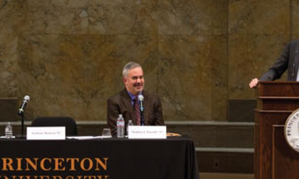 ACLU director Anthony Romero '87 speaks about marriage equality while panelists Haley Gorenberg '87, deputy director at Lamba Legal, and Professor Stephen Macedo *87 listen.