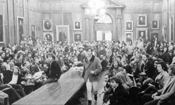 Student activists and supporters are shown at a meeting in the Faculty Room of Nassau Hall — one of several events following the Walter Hickel incident. Barry Wechsler '73 took this photo, which ran in the April 28, 1970, PAW.