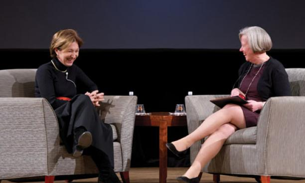Anne-Marie Slaughter '80 and President Tilghman discuss work-life balance.
