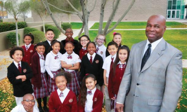 Former professional basketball player Brian Taylor '84 inspires children at a charter school in Phoenix.