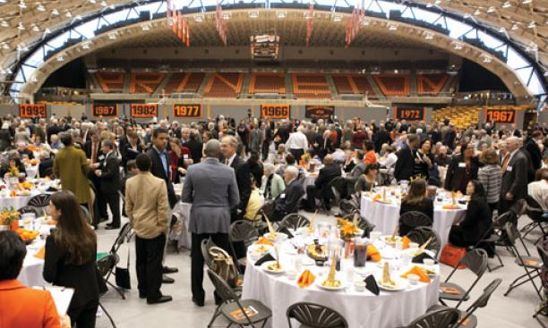 Alumni gather for lunch in Jadwin Gym.