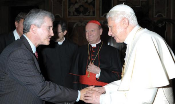 Max Gomez '73 and Pope Benedict at a conference held at the Vatican in November.