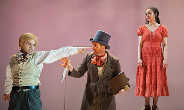 A scene from An Octoroon with, from left, Chris Myers, Danny Wolohan, and Amber Gray.