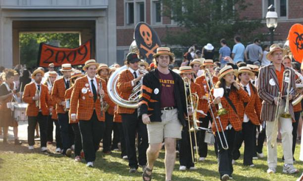 The Princeton University Band leads the Class of 2009 onto Poe-Pardee Field. At center is former band member Joel Thompson '08.