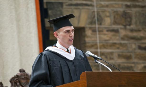 Stephen Hammer '09 delivers the salutatorian address.