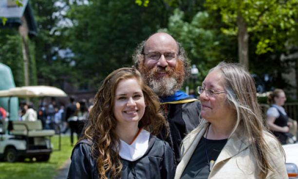 Professor William Bialeck with his daughter, Fannie '09, and his wife, Charlotte.