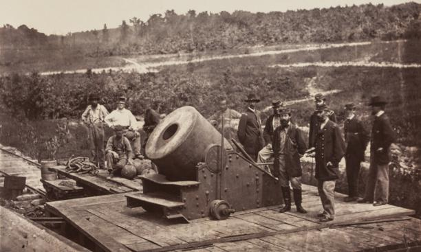 """Mortar Dictator, Front of Petersburg, October 1864"" — This mortar weighed 17,120 pounds and was capable of firing a 200-pound shell more than 2.5 miles, as it is believed to have done during the siege of Petersburg. ""The bursting of the shell was"
