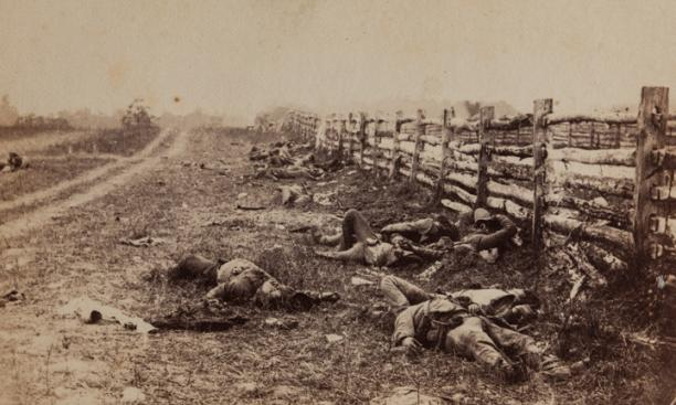 """View in the Field"" —  Two days after the battle of Antietam, Gardner shot this image of Confederate corpses lining the Hagerstown Road."
