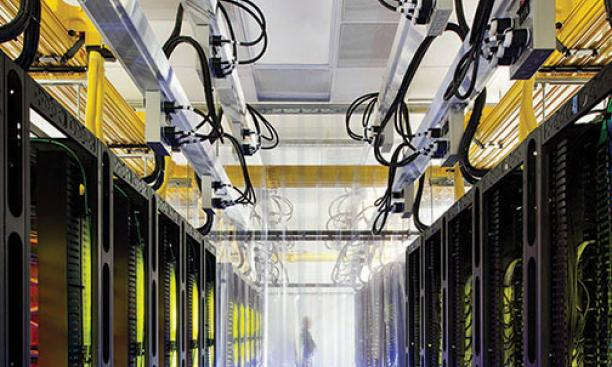 Routers and switches in Google's data center in Council Bluffs, Iowa. The NSA was able to intercept data at Google and Yahoo; both companies say they now encrypt data.