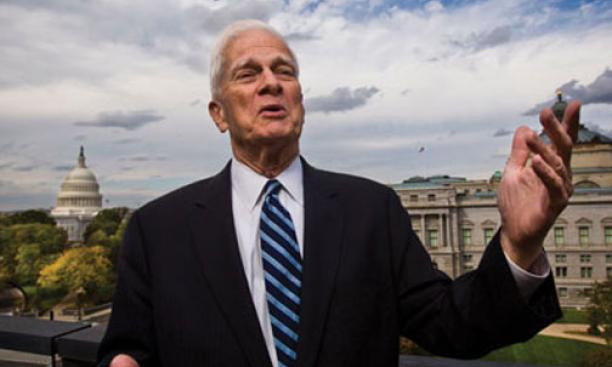 One of James Billington '50's duties as librarian of Congress is to safeguard national sound treasures. Standing outside his office — with its magnificent view of the Capitol — Billington breaks into song himself.