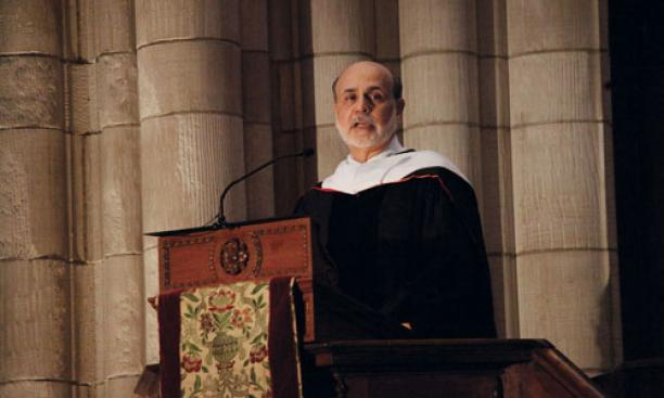 Federal Reserve chairman — and former Princeton professor — Ben Bernanke spoke at Baccalaureate, offering a humorous top-10 list with a serious message about service.