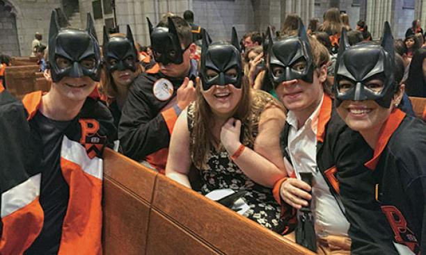 Seniors donned Batman masks for Class Day.