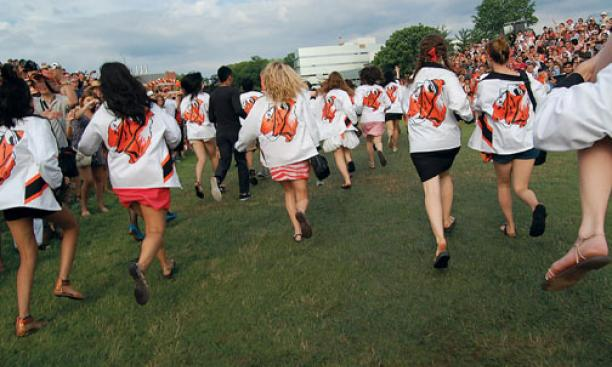 At the P-rade, rushing to become alumni.