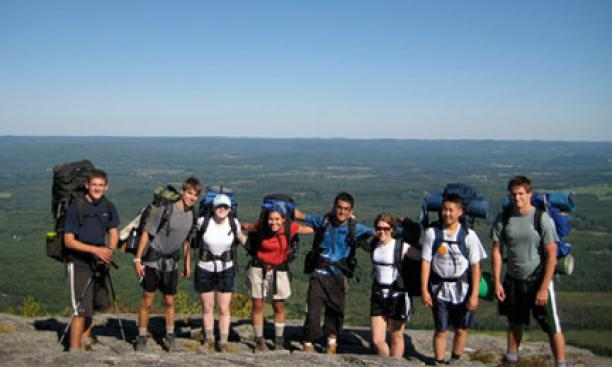 Pausing for a photo at the summit in Connecticut.