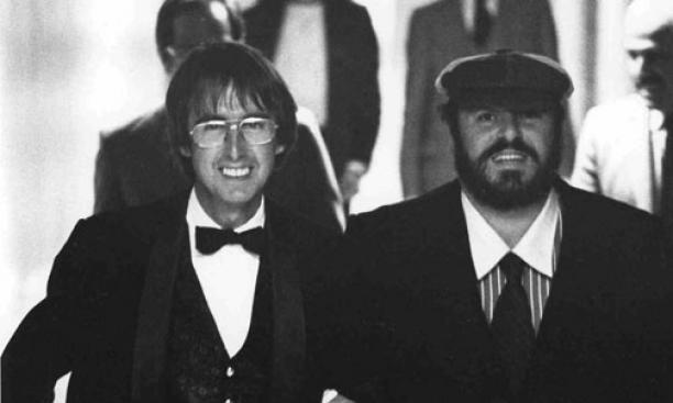 Bill Lockwood '59, Princeton's impresario, with tenor Luciano Pavarotti at McCarter Theatre in 1980. Lockwood began bringing performers to campus as a student.