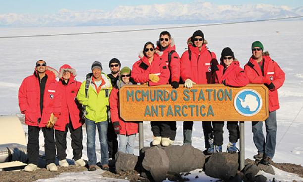 Scientists pose in October at McMurdo Station, the largest Antarctic research center, where they were preparing for the launch of SPIDER, an instrument that would gather data that could shed light on the origins of the universe. Physicist William C. Jones