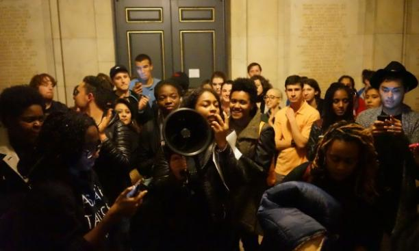 Students celebrate the end of the 33-hour Nassau Hall sit-in. (Mary Hui '17)