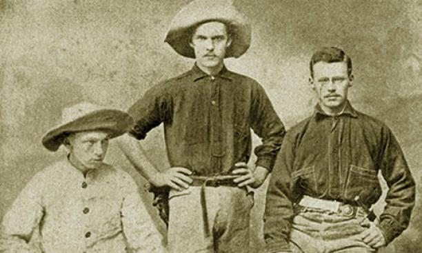 Three 1887 friends — from left, Henry Fairfield Osborn, Francis Speir Jr., and William Berryman Scott — were among the Princetonians who participated in the 1877 College Scientific Expedition to Colorado and Wyoming (then a territory).