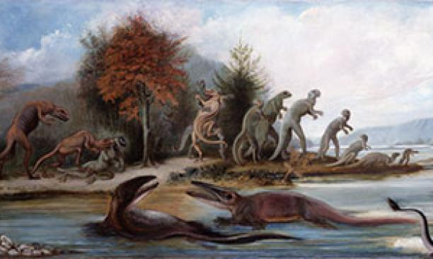 "This 1877 oil painting by British artist Benjamin Waterhouse Hawkins, ""Cretaceous Life of New Jersey,"" hung in Nassau Hall."