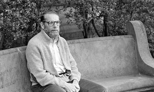 John McPhee '53 on campus in 1986.