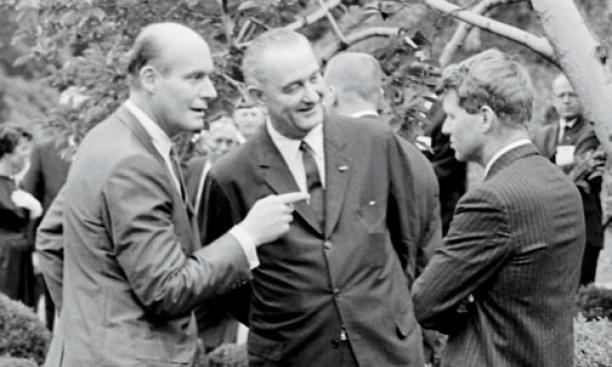 Katzenbach with President Lyndon B. Johnson and Attorney General Robert F. Kennedy in August 1964