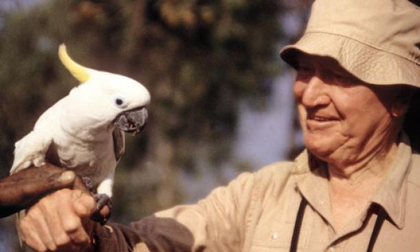Train meets a white parrot in August 1994, when he was with the World Wildlife Fund.