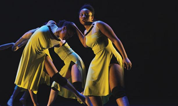 Strong, right, in Matters, choreographed by professor Rebecca Lazier, in the 2014 Spring Dance Festival